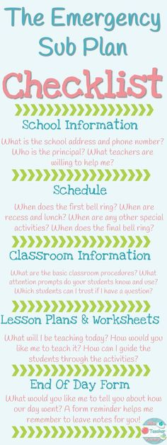 The Emergency Sub Plan Checklist. 5 Things Your Emergency Sub Plans MUST Include! If you include all of these things, you can rest easy when you have to take an unexpected day off. Your sub and your students will have everything they need! FREEBIE and Rea Teacher Binder, Teacher Organization, Teacher Hacks, Teacher Stuff, Organized Teacher, Teacher Supplies, Elementary Teacher, Elementary Education, School Teacher
