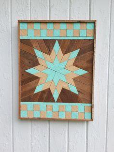 """Arte de pared de madera reciclada, listón arte, pintado de estrellas, la pared decoración, bloques cuadrados, geométrica, decoración para el hogar, 17"""" por 20"""""""