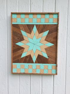 Reclaimed Wood Wall Art Lath Art Painted Star by PastReclaimed