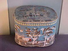 ANTIQUE WALLPAPER BAND BOX / HAT BOX - CASTLE GARDEN NEW YORK CITY ca. 1850  sold  578.00  GIRAFFE / B.T. BARNUM / JENNY LIND