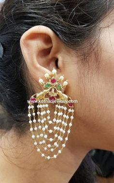 Real Gold Jewelry, Gold Jewelry Simple, Gold Jewellery Design, Pearl Jewelry, Pendant Jewelry, Bridal Jewelry, Ear Cuff Jewelry, Cuff Earrings, Gold Necklace