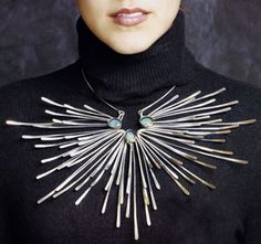 """Sterling silver and opals necklace """"In the sky"""" by merry renk, 1972."""