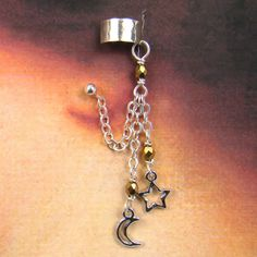 Star ear cuff with chain dangles and piercing by laurelmoonjewelry, $22.00