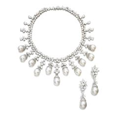 Diamond and cultured pearl demi-parure, Harry Winston Comprising a necklace designed as a slightly graduated fringe set with marquise-, pear-shaped and brilliant-cut diamonds suspending cultured pearls; the pair of ear clips with detachable pendants. Real Diamond Necklace, Pearl Pendant Necklace, Pearl Jewelry, Diamond Jewelry, Jewelery, Vintage Jewelry, Harry Winston, Jewelry Sets, Fine Jewelry