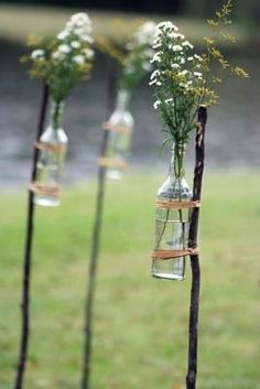 Good idea for the walkway- country yet cute and baby's breath is cheap to buy! @Teresa Kilpatrick