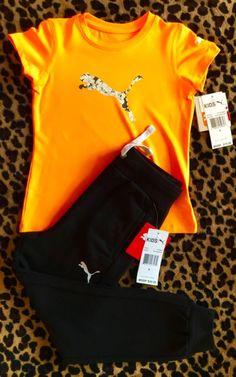 a05ebd0b1de0 Puma Girl s Short Sleeve Shirt   Sweat Pants Outfit Black Orange Sz 6  PUMA