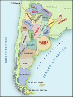 Map of Argentina in Southern America Mendoza, Southern Cone, Drake Passage, Visit Argentina, Argentina Travel, South America Travel, Latin America, Adventure Is Out There, World Traveler