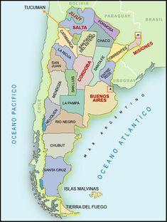 Mapa de la Republica Argentina.y sus hermosas provincias