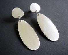 Sterling Silver Pebble Drop Earrings Organic Shaped Earrings