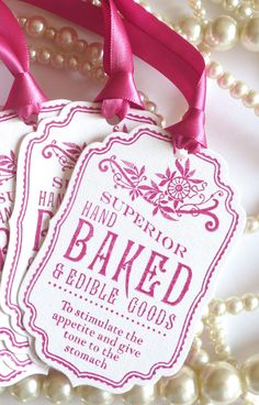 Baked Good Tags - Fuchsia Pink Vintage Style - Food Labels - Wedding Favor Tags, Party Tags SET of 5 - Code B5. $6.25, via Etsy.