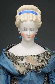 parian dolls | German parian Lady doll with blonde fancy molded hair in an upsweep ... German Women, China Dolls, Doll Head, Antique Dolls, Fancy, Eyes, Google Search, Antiques, Glass
