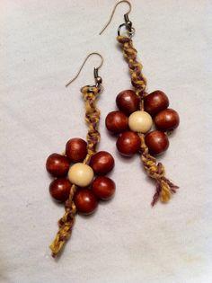 UNIQUE HEMP JEWELRY- Twisted flower hemp earrings