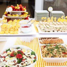 Platters, plates & bowls used as food display tower