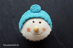 Cupcakes mit winterlichen Gesichtern