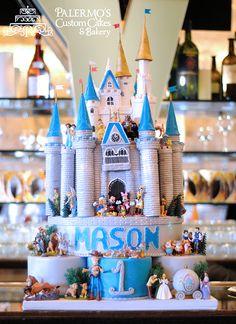 Fantasy Disney Castle Fondant 1st Birthday Cake