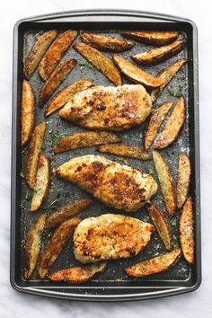 Sheet Pan Garlic Parmesan Chicken & Potatoes | lecremedelacrumb.com