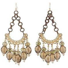 LIZZY 119558 BROWN/GREEN GOLD CHANDELIER EARRINGS ($380) ❤ liked on Polyvore