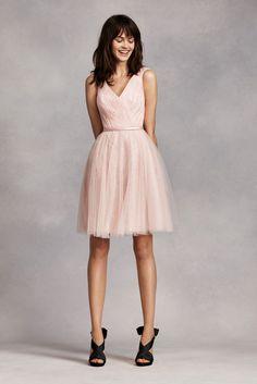 Short Novelty Sleeveless Tulle over Lace Bridesmaid Dress