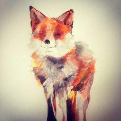 A cheeky fox, enjoying the autumn sunshine. Abby Cook Illustration