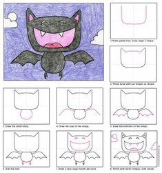 Draw a Vampire Bat (Art Projects for Kids) You can draw a Vampire bat without it being scary. In fact, they can be downright funny like this guy. Here's a tutorial on how to draw this very friendly looking bat. Oversized heads and symmetrical Halloween Art Projects, Theme Halloween, Fall Art Projects, Halloween Activities, Art Activities, Projects For Kids, Drawing For Kids, Art For Kids, Vampire Bat