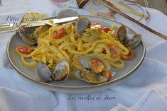 Spaghetti, Ethnic Recipes, Food, Al Dente, Clams, Fresh Pasta, Cherry Tomatoes, Fish, Cooking Recipes