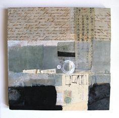 collage: papel, textil, acrílico, acuarela sobre madera