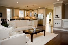 Classic Shingle Lake House Home Bunch Interior Design Ideas. 10 Ideas On How To Make The Open Concept Layout Work In An . Home and Family Open Kitchen And Living Room, Living Room Modern, Home And Living, Living Room Designs, Living Spaces, Space Kitchen, Dining Room, Living Area, Kitchen Floor