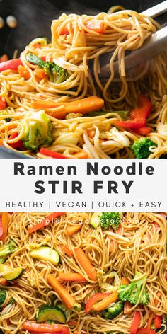 Veggie filled Ramen Noodle Stir Fry recipe is a quick and easy recipe perfect for those who want a hearty and healthy noodle dish in under 30 minutes! #wfpb #stirfry #healthyrecipes #veganrecipes #plantbased Ramen Recipes, Vegan Recipes Easy, Asian Recipes, Whole Food Recipes, Vegetarian Recipes, Cooking Recipes, Fried Ramen Recipe, Chinese Noodle Recipes, Stir Fry Recipes