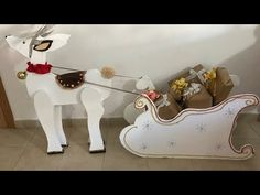 Reno con trineo de cartón - YouTube Christmas Diy, Christmas Decorations, Reindeer Antlers, Natal Diy, Diy Pallet Projects, Pop Art, Crafts For Kids, Merry, Paper Crafts