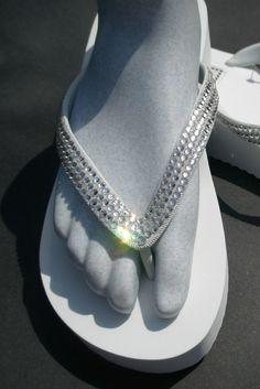 Calling All Brides  Genuine Swarovski Crystal High Flip Flops by ShadesOfBling, $89.95