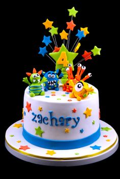 I did this monster cake for the same little guy that I did Octonauts Cupcakes for. At firt Zach's mum wanted me to do monster cake whic. Monster Birthday Cakes, Cookie Cake Birthday, First Birthday Cakes, Birthday Cake Toppers, Birthday Cake For Kids, Monster Cakes, Birthday Ideas, Fondant Cakes, Cupcake Cakes