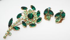 Vintage shades of green rhinestone Flower BROOCH pin Earrings SET costume jewelr #unsigned