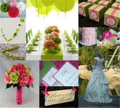 Pink and Green wedding...and where to get the supplies for this.