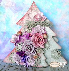 Choinka, DT Artistiko, foamiran, Christmas, kwiaty, flowers, mixed-media, mixmedia.