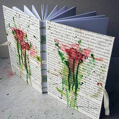 art book / boobinding / handmade / poppies / paint / ink / draw / ardeas / Maľovaný zápisník A6 - Divé maky