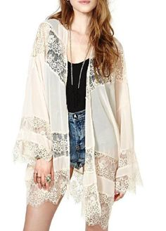 Enchanting Long Sleeve Solid Beige Kimono with Lace