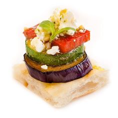 Grilled vegetable stack on Turkish bread Canapes Catering, Catering Companies, Basil Pesto, Grilled Vegetables, Eat Right, Finger Foods, Avocado Toast, Vegetarian Recipes, Grilling