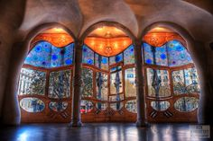 Stained Glass Windows at Casa Batllo |   Gaudi