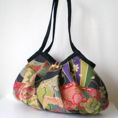 Japanese Kimono Large Granny Bag Crane and Flower in by tagodesign, $48.90