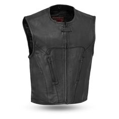 Get out on the highway in this genuine leather vest by First Manufacturing. This men's leather vest was made for riders just like you who demand protection and comes with a roll-up collar, hidden snap closure and center zipper. Motorcycle Vest, Motorcycle Leather, Leather Biker Vest, Raw Denim, Cowhide Leather, Men's Leather, Swat, Outdoor Outfit, Vest Jacket