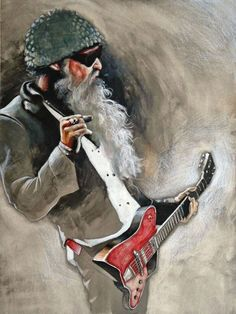 Box Canvas: Dusty Hill Ready To Hang Various Sizes ZZ Top Grunge Art