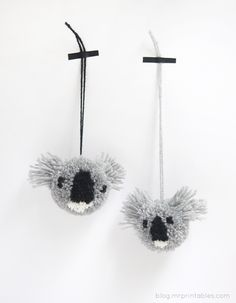 the cutest Koala pompoms, a heap of these would make a great Australia Day garland. Not sure if im brave enough to try making them.