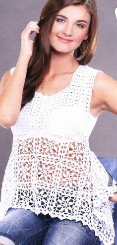 Delicadezas en crochet Gabriela: Top con falda amplia en crochet
