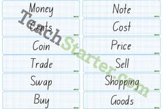 Money Word Wall Vocabulary | Teaching Resources - Teach Starter