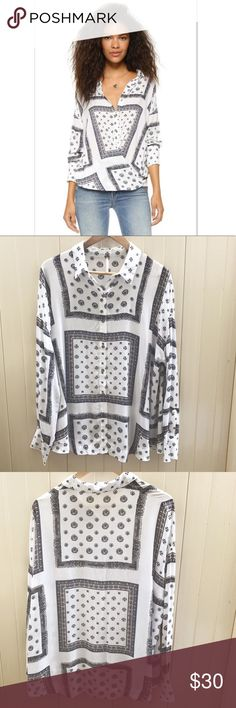 Free People Little Secrets Button Down Top Free People Little Secrets Button Down Top. Size M. Lightweight white black printed buttondown. 100% Rayon. Great condition! Free People Tops