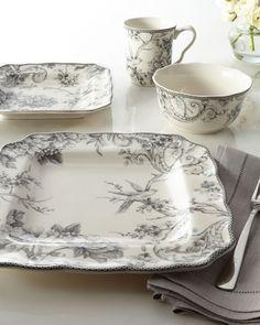16-Piece Adelaide Gray Dinnerware Service - Horchow
