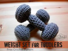 This crochet weight set is great for when your kids want to exercise along side you.