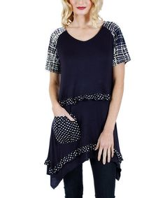 Look what I found on #zulily! Blue & White Patchwork Sidetail Tunic by Aster #zulilyfinds