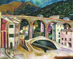 Italy. Nervi. Landscape with aqueduct by Ilya Mashkov #postimpressionism