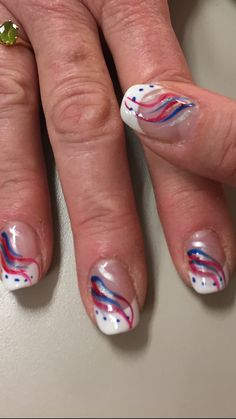 Patriotic ideas Memorial Day, 4th of July, nail art Design by Gil
